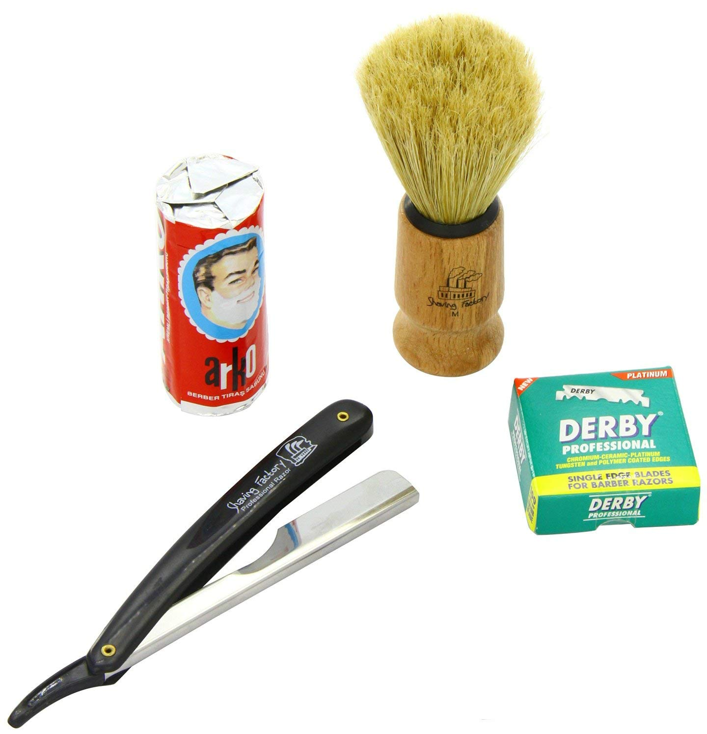 SF228-Shaving Factory Straight Razor (Black), Shaving Factory Hand Made Shaving Brush, 100 Derby Professional Single Edge Razor Blades and Arko Shaving Soap Stick. Great Valentines Day Gift Set For Men.