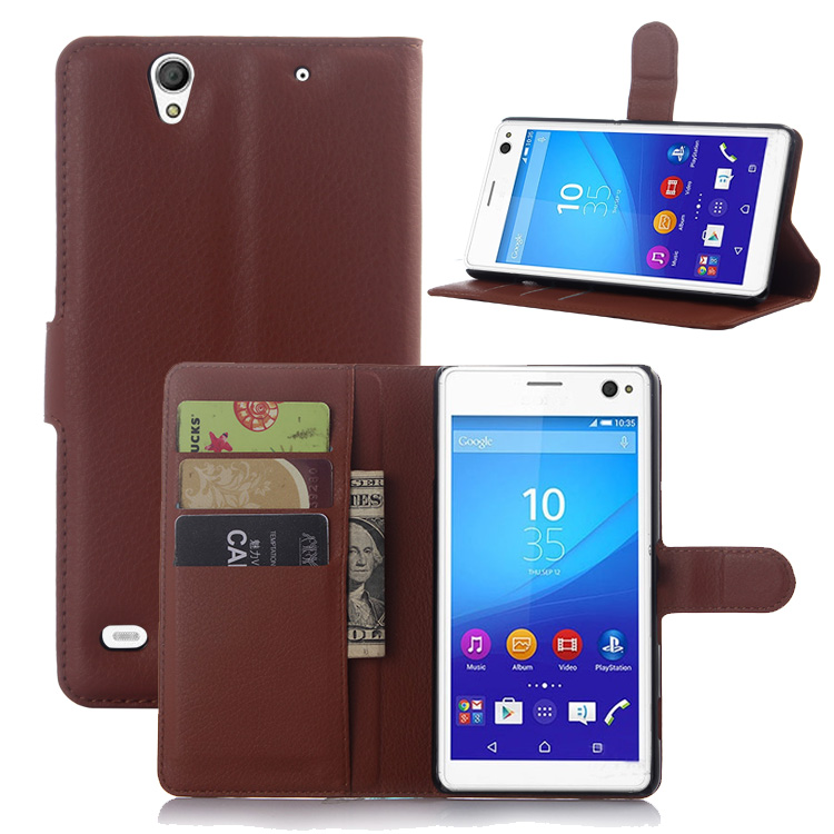 New business style flip wallet back cover for Sony Xperia C4 leather case