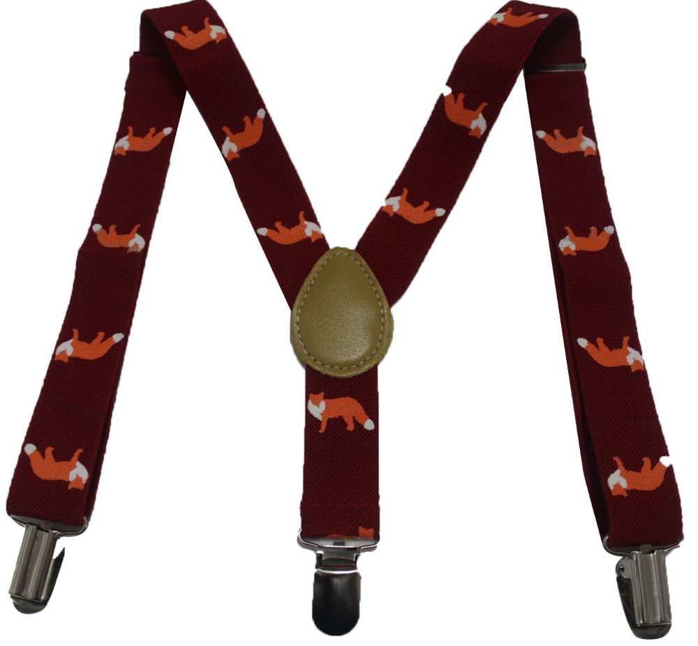 Free Shipping 2016 New Fashion Kids Cute Burgundy Fox Animal Print Braces Suspenders For Boys Girls