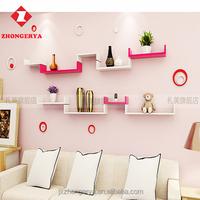 Home Decorative Set of 3 wall mounted wood u shape floating wall shelf