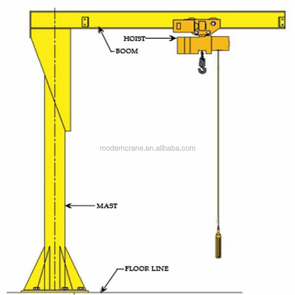 Jib Crane Parts Drawing : High duty new design hydraulic jib crane with