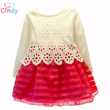 2015 Summer Girl Dress Children Clothing Set for Spring Long Sleeve Party Striped White Pink Princess