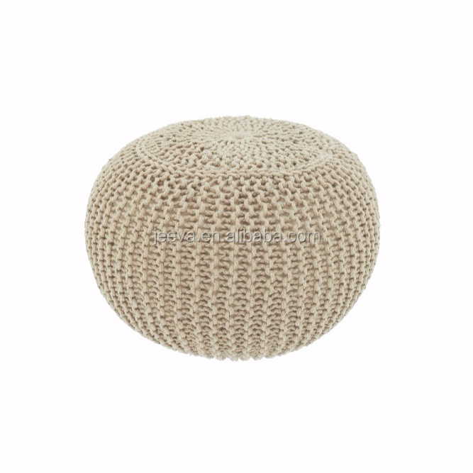 Home Furnitue Portable Knitted Round Pouf/Ottoman/Stool