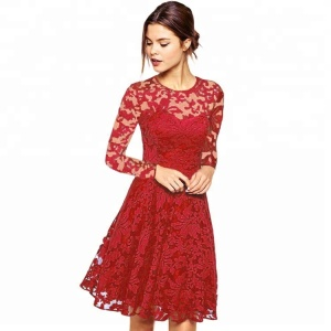 New Floral Design Long Sleeve Casual Pencil Red Lace Dress