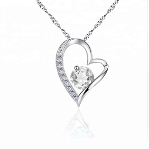 100% 925 Sterling silver Fashion heart love shape pendant necklace purple zircon charms