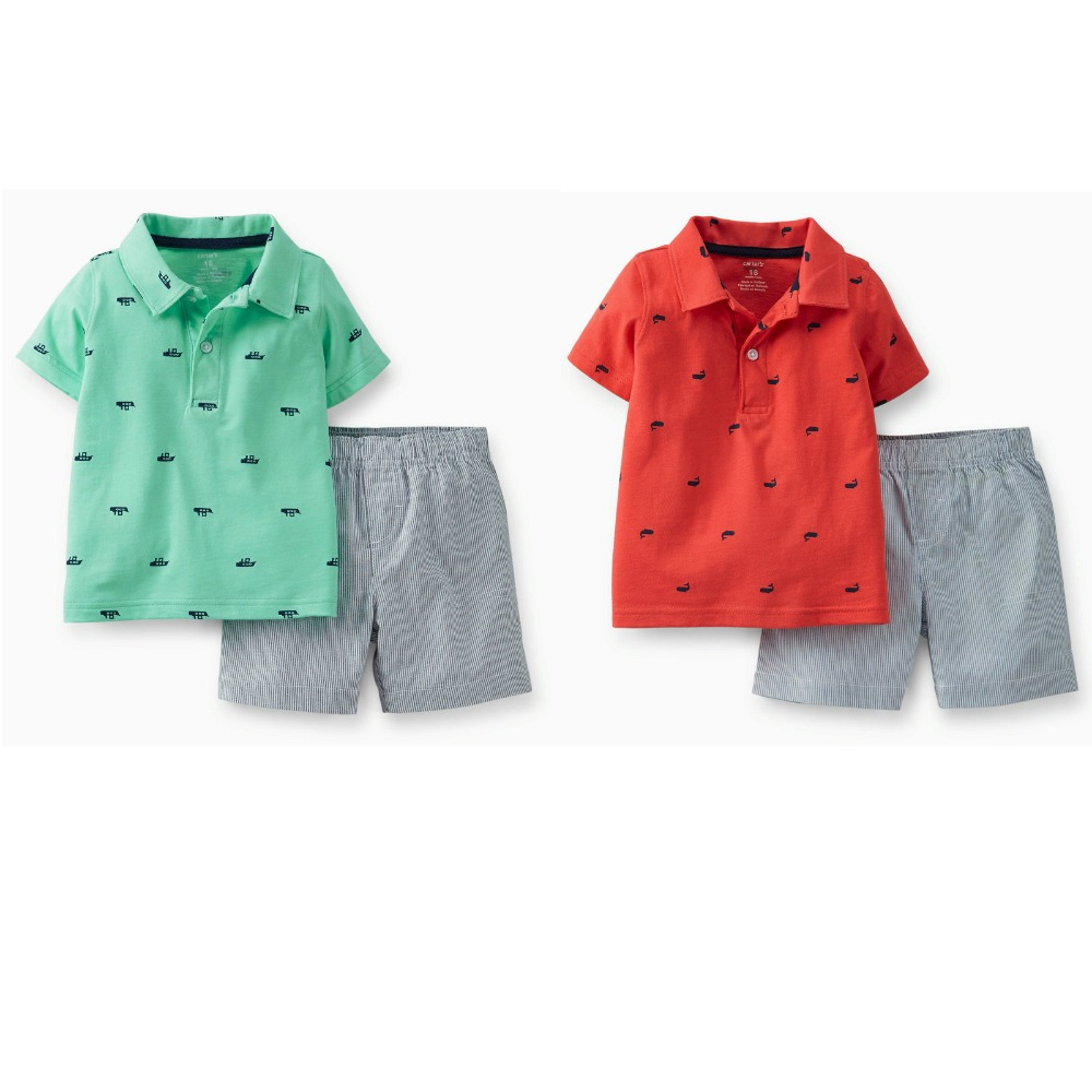 New Arrival Spring & Summer 2015,Carter's Baby &Toddler  Boys Short sleeve 2-Piece Jersey Top & Cotton Shorts Clothing Sets