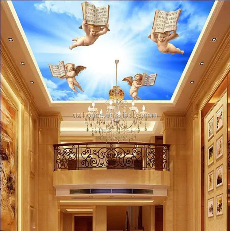 SY046 guangzhou ihouse European style 3d angel wall paper ceiling mural for church