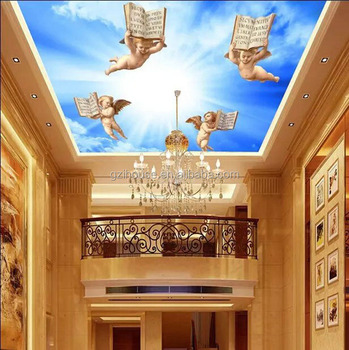 Sy046 Guangzhou Ihouse European Style 3d Angel Wall Paper Ceiling