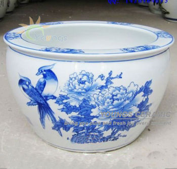 Large Chinese Traditional Blue And White Ceramic Planter