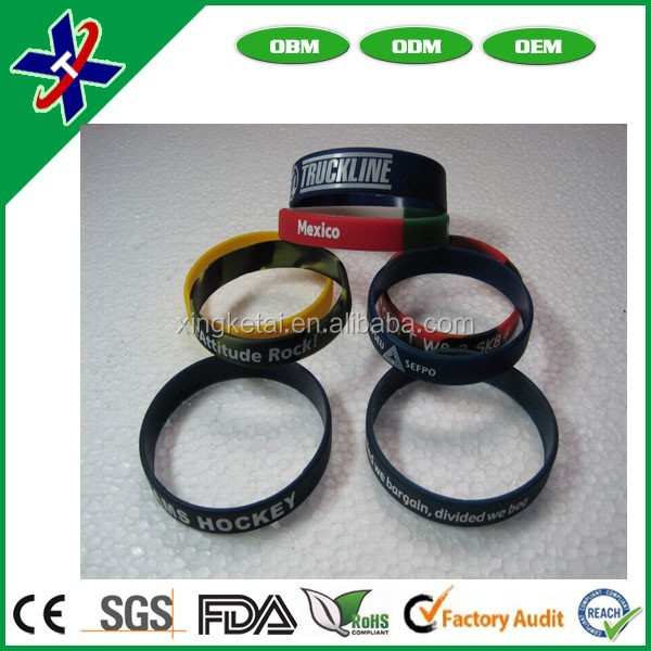 factory directly wholesale cheap custom mixed color silicone rubber bangle