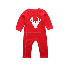 Wholesale Christmas soft new born baby clothes red plain baby winter romper