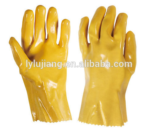 LUJIANG High quality long arm protective oil-proof safety Yellow PVC gloves