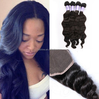 best remy hair loose wave 4 bundles with closure, 100% virgin brazilian human hair with lace closure