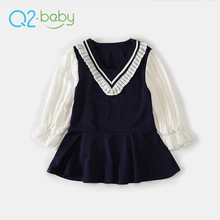 Q2-baby Promotional Product Joint V Neck Puff Sleeve Baby Girls Chiffon Boutique Dress
