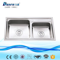 2017 good quality sink stainless steel double bowl big size small size kitchen using hand washing basin