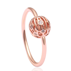 Fashion Trendy Ring With Hollow Rose Gold Ball Copper Alloy Zircon Finger Ring for Women Party