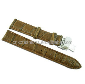 Genuine Leather 18mm Watch Band Strap with butterfly buckle