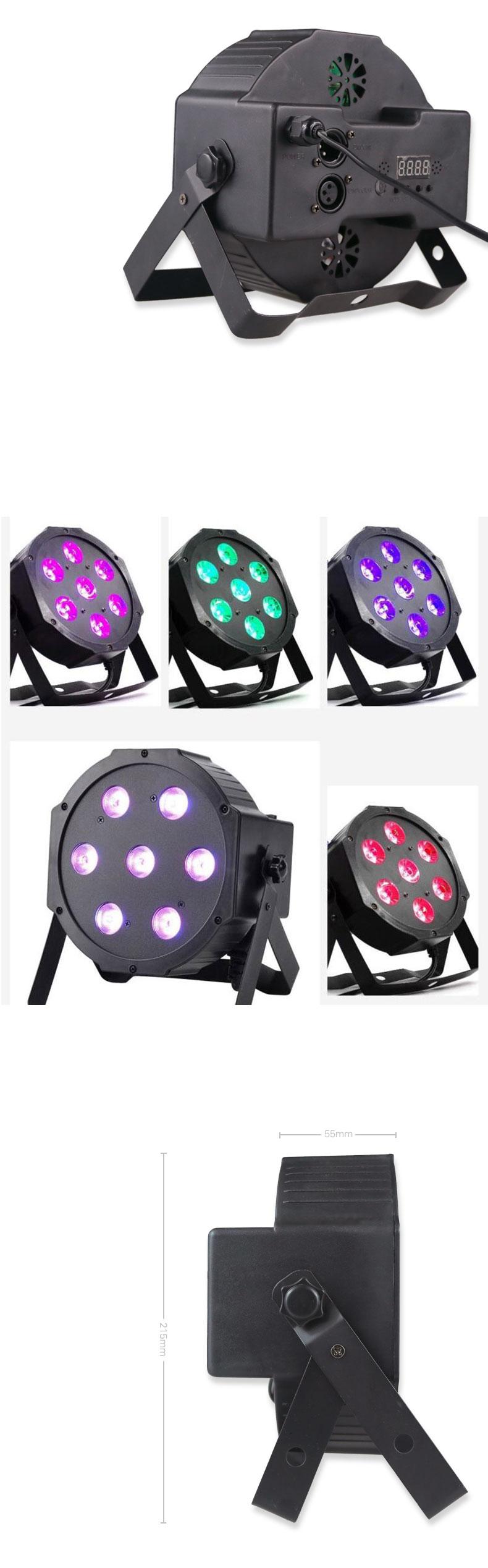 RGBW 4 IN 1 7 LED 조명 Flat 파 클럽 바 DJ Stage 자 웨딩 DMX512 LED Stage 등