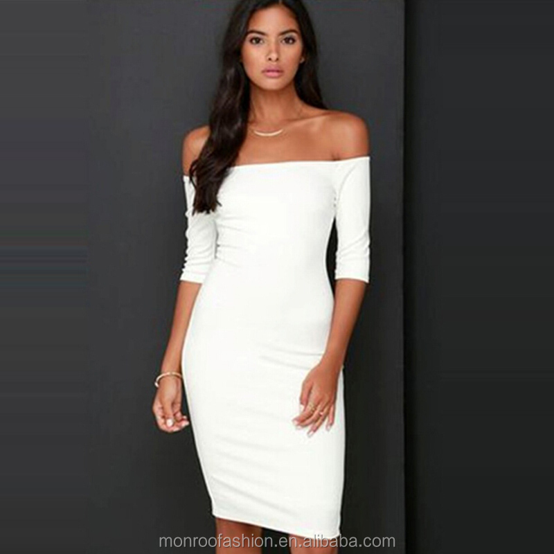 monroo New Arrival Women Fashion White Elegant Sexy Off the Shoulder Slash Neck Causal Sheath Knee Length Dress