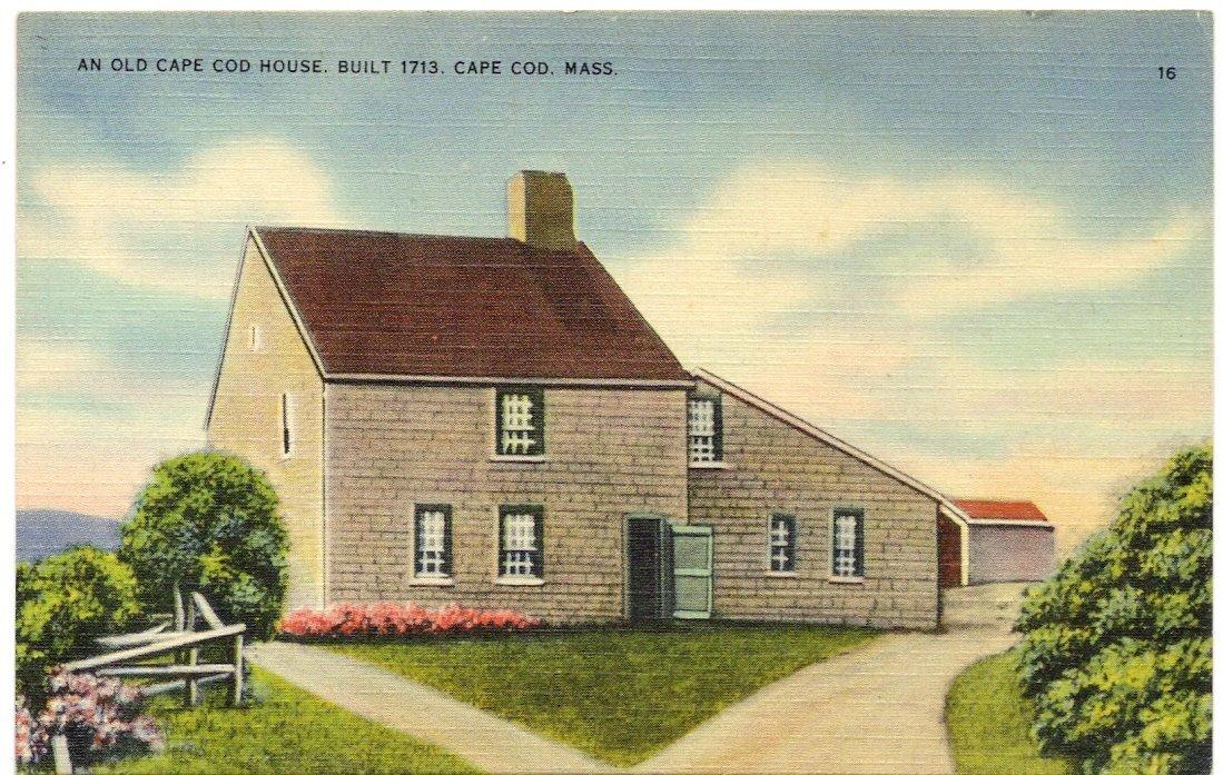 1940s Vintage Postcard An Old Cape Cod House Machusetts