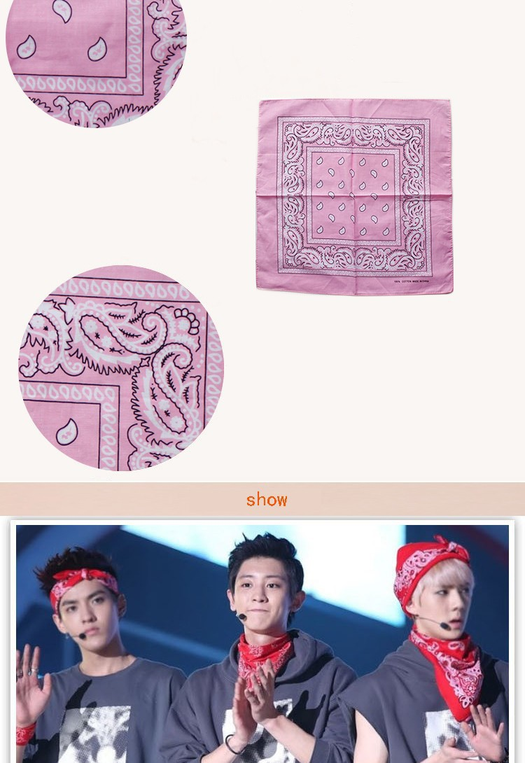 LINGSHANG clients' design and logo customized 100% cotton paisley bandana