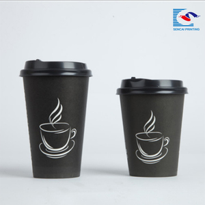 Sencai Custom Logo Printed Free Sample Disposable Hot Paper Coffee Cup Hand Protect paper cup