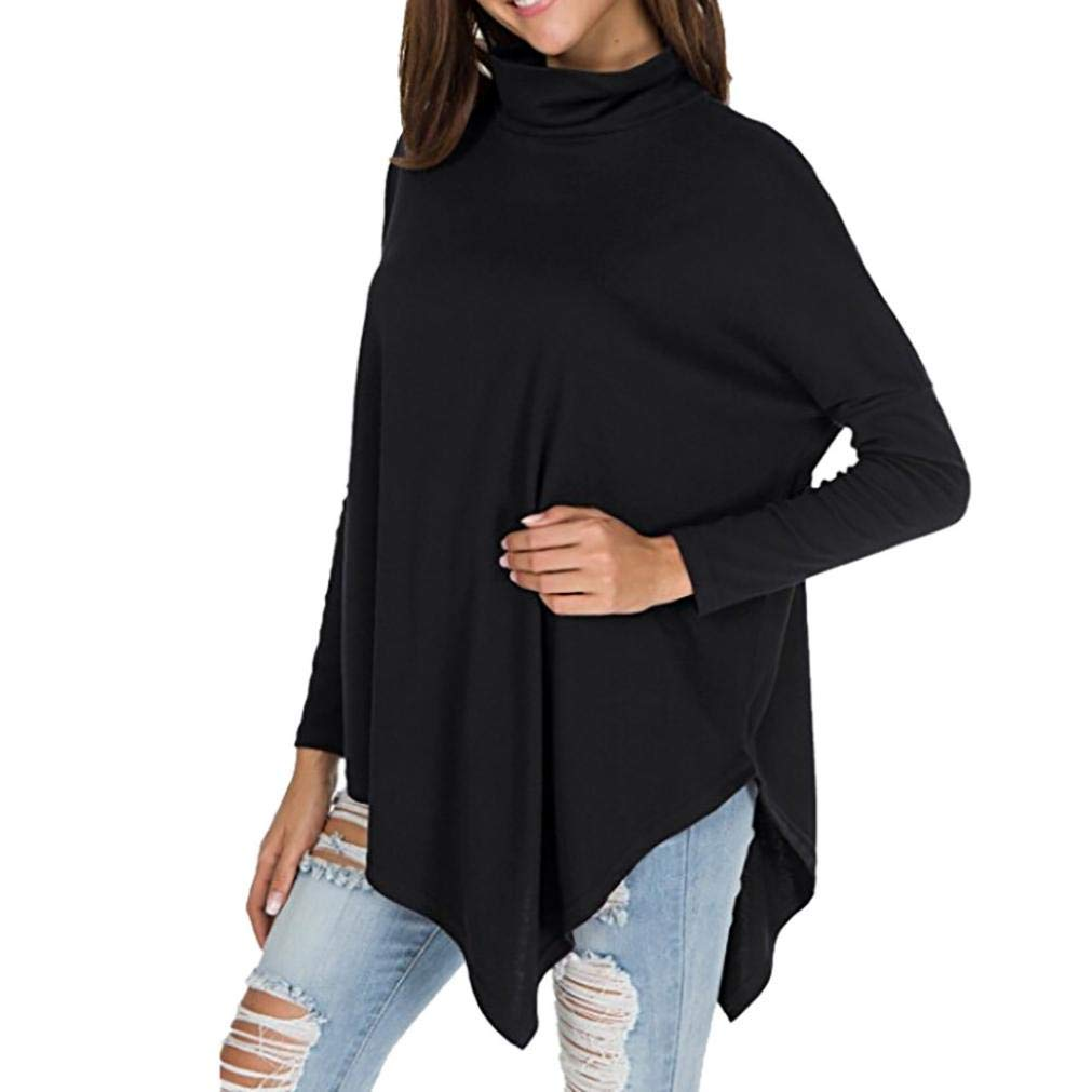 Zainafacai Fashion Casual Tunic,Women's Long Batwing Sleeve Turtleneck Hankerchief Hem Loose Blouse Sweatshirt