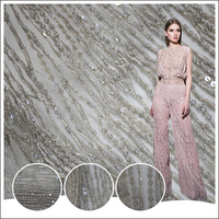 Top end french gray tulle lace fabric pure handwork 3d beaded lade dress fabric with sequins for fashion show HY0693-3