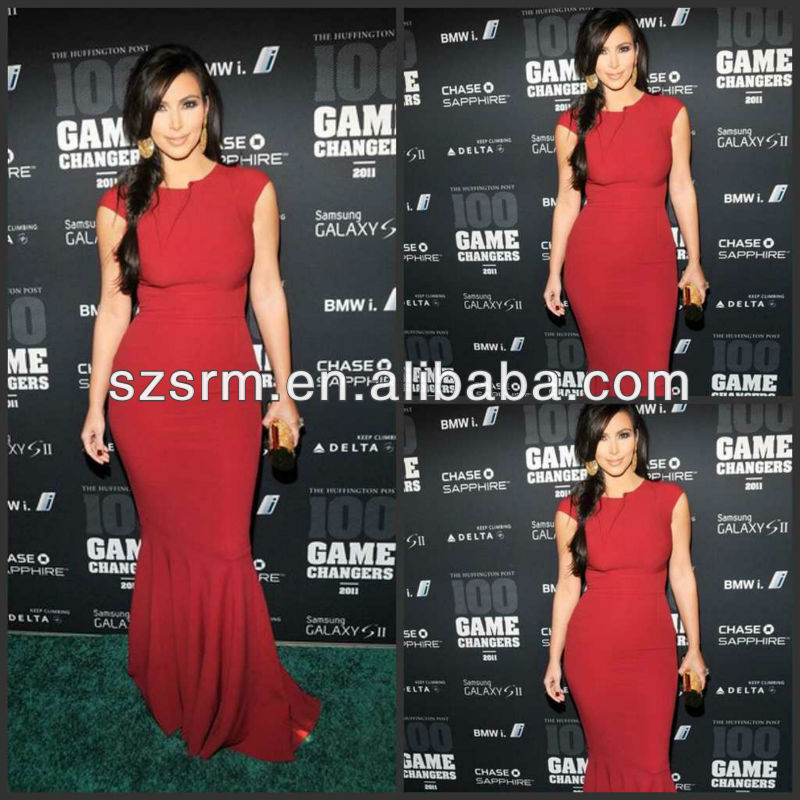 Classic Style Wine Red Cap Sleeves Mermaid Style Kim Kardashian Red Carpet Celebrity Chiffon Design Evening Dresses DE033