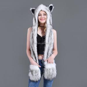 0903a3e9c479c China Fake Fur Animal Hoods