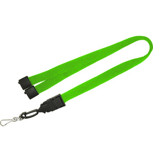 "Cheap green 3/4"" lanyard with safety breakaway"