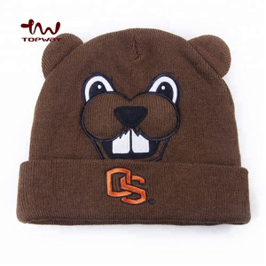 Embroidered Logo Custom Beanie With Bear Face