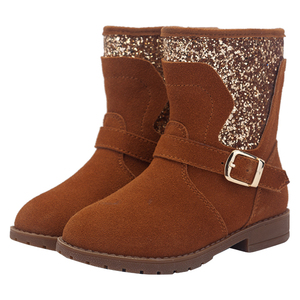 Wholesale women's low price shoes girls winter snow half boots with glitter