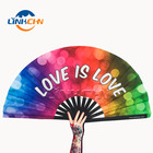 Folding Fan Fan Folding Hand Fan Custom Large Folding Hand Rave Fan With Fabric Printing