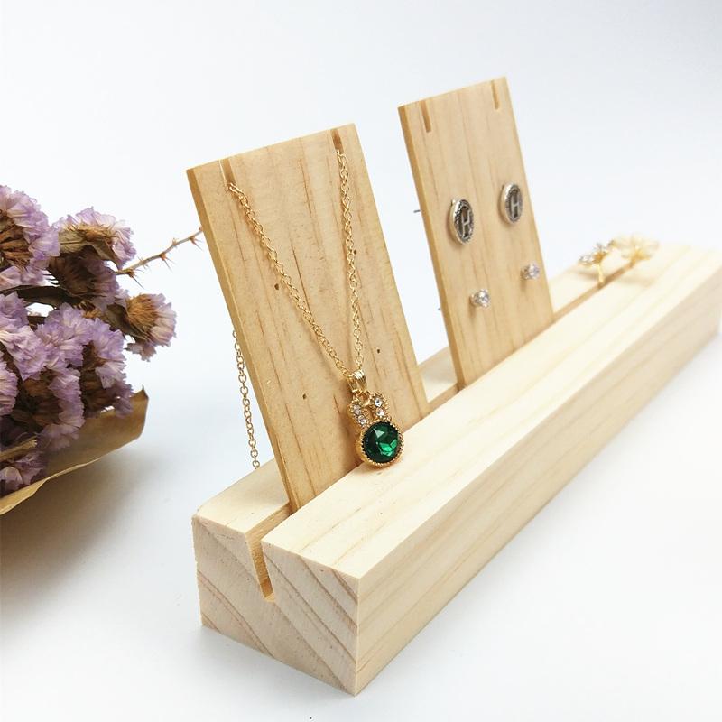 Houten Ketting Ring Display/Card Slot Sieraden Stud Oorbellen Display Stand