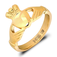 Zhongzhe Jewelry Stainless Steel Heart Ring Traditional Claddagh Celtic Ring, 18K Gold Plated, Stock Wholesale