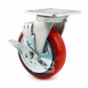 "3"" 4"" 5"" 6"" 8"" 10"" Polyurethane PU Tread Metal Core Caster Wheels with Side Brake"