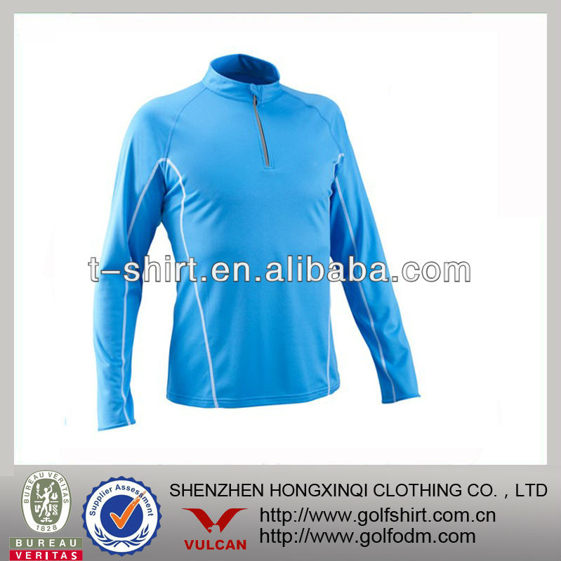 Blue Color Turtleneck Nylon Lycra Men Sportswear Jersey