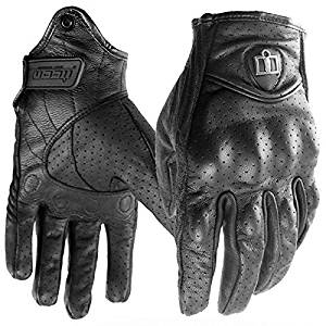 Icon Mens Pursuit Stealth Perforated (with holes) Motorcyle Gloves Bike Gloves (Large)