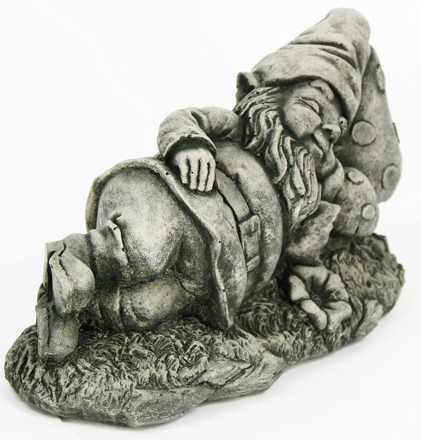 Gnome Sleeping Decorative Concrete Statue Cement Gnome Figure Cast Stone Gnome Sculpture Garden Statue Art Decor