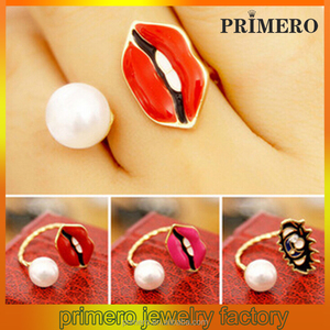Dubai Fashion Metal Red Lip Pearl Rings for Women Pearl Eye cuff pearl ring Punk Chunky Adjustable Gold Red