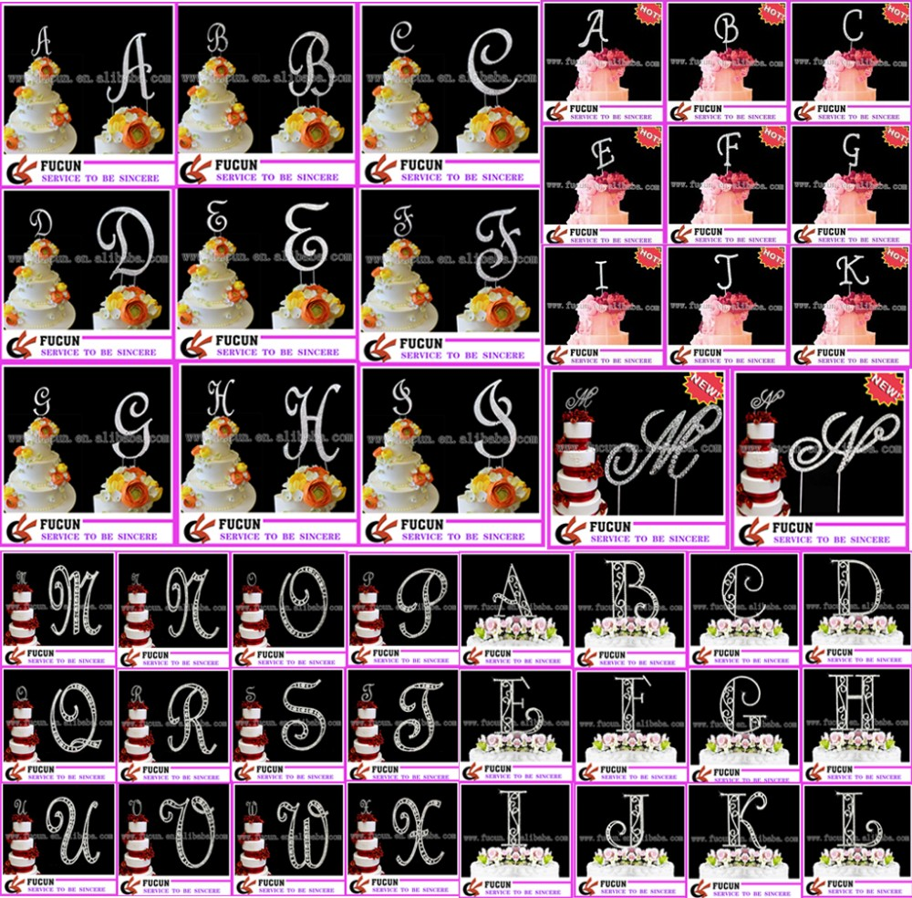 Image Of Rhinestone Monogram Wedding Cake Toppers