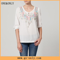Embroidered pattern smart casual clothing for ladies