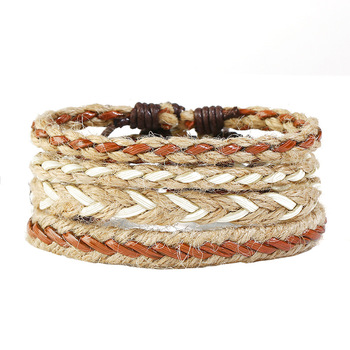 2019 March Expo Boho Wholesale Multi-layer Braided Mens Straw Bracelet Retro Adjustable Cuff Wrap Bracelet