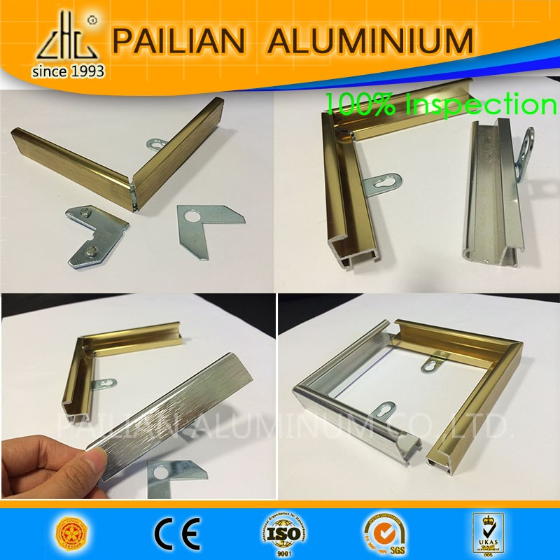 Shining polished colorful aluminium picture frame  profiles  with customized colors