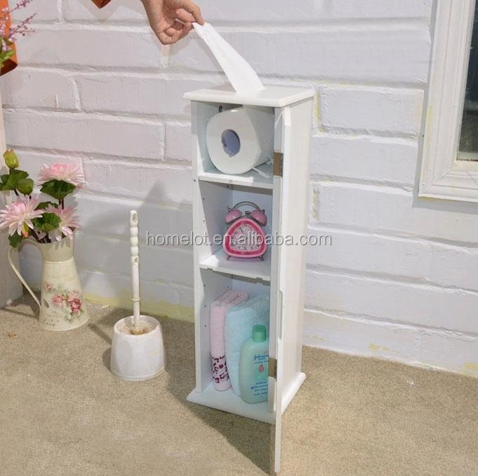 Toiletpapier stand kast opslag wit hout cottage wc papier houder badkamer ijdelheden product id for Spiegel wc deco