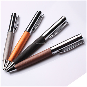 Factory direct custom logo high quality carved advertizing wood ball pen kits for promotion
