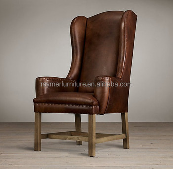 French Vintage Leather High Wing Back Arm Dining Chair