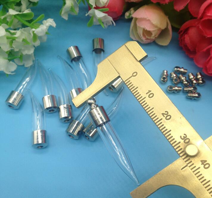 db98c1a08821 5pcs lot Screw cap 39 6mm Fang tooth pepper diy glass vial pendant Wishing  Bottle jars glass globe name or rice art Holder Craft - us606