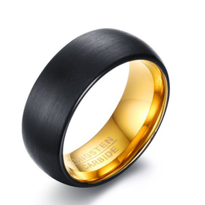 Custom signet rings tungsten carbide 8mm men engraved black rings (TU-008)